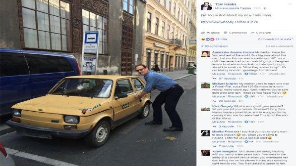 """Tom Hanks e la 126: """"Ecco la mia nuova auto!"""""""