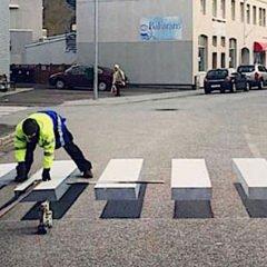 L'Islanda testa le strisce pedonali tridimensionali per far rallentare le auto